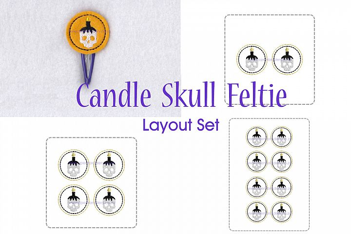 Candle Skull ITH Halloween Feltie Embroidery Design