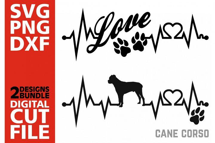 2x Cane Corso Bundle svg, Dog svg, Heartbeat svg, Love, Paws