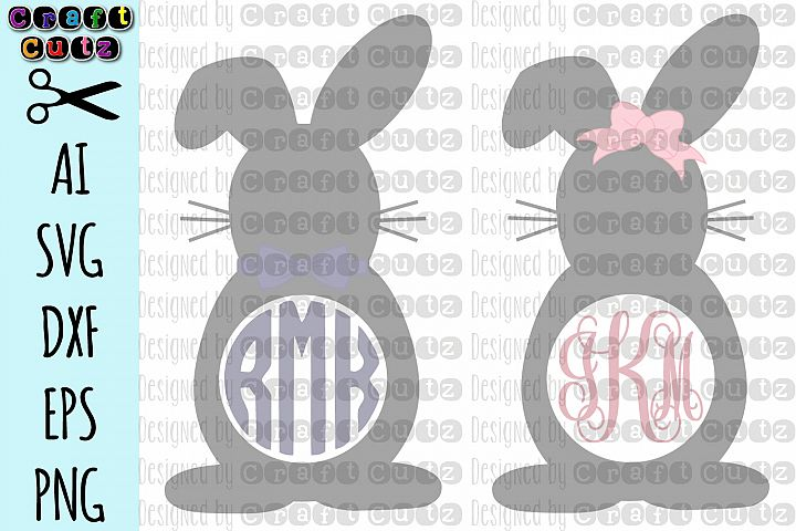 Monogram Easter Bunny svg, Cute Easter svg, Monogram Cut Fil