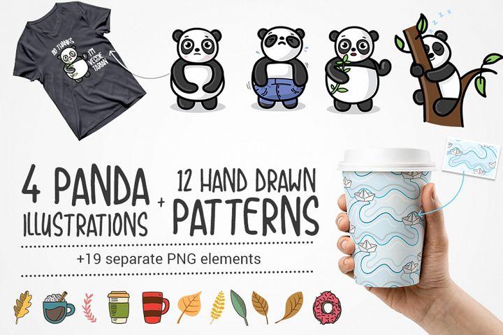 4 Panda Illustrations with 12 Hand Drawn Patterns