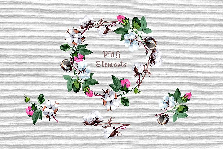 Cool cotton PNG watercolor set example 4