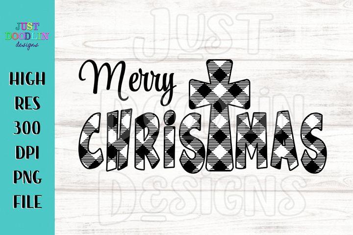 Merry Christmas buffalo plaid PNG design
