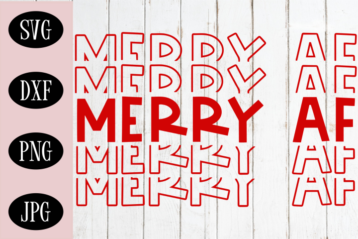 Merry AF SVG, Stacked Word SVG, Christmas SVG