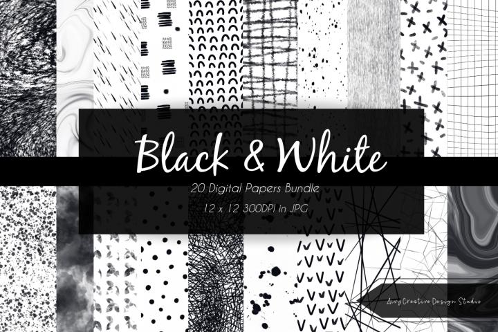 Minimalist Black and White Digital Paper Bundle