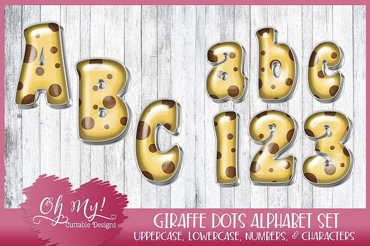 Giraffe Dots Alphabet Bundle Clipart Graphics