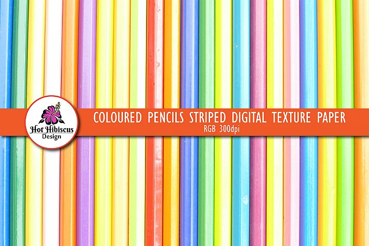 School Teacher Coloured Pencils Striped Texture Paper