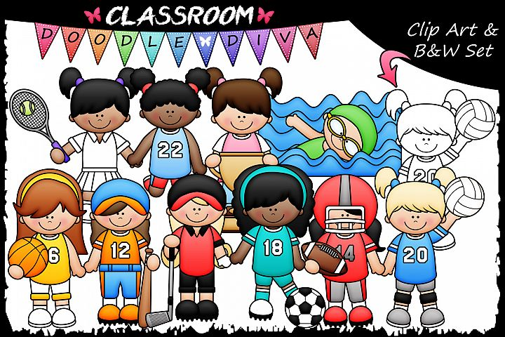 Sports Girls - Classroom Doodle Diva Clip Art & B&W Set
