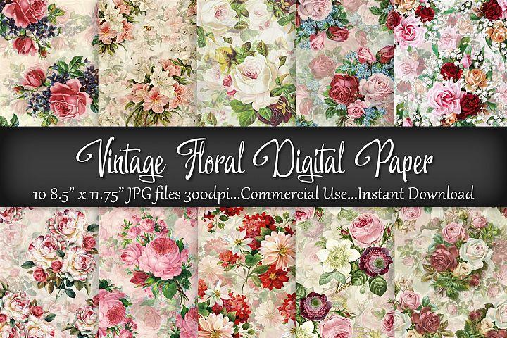 Vintage Floral Digital Paper