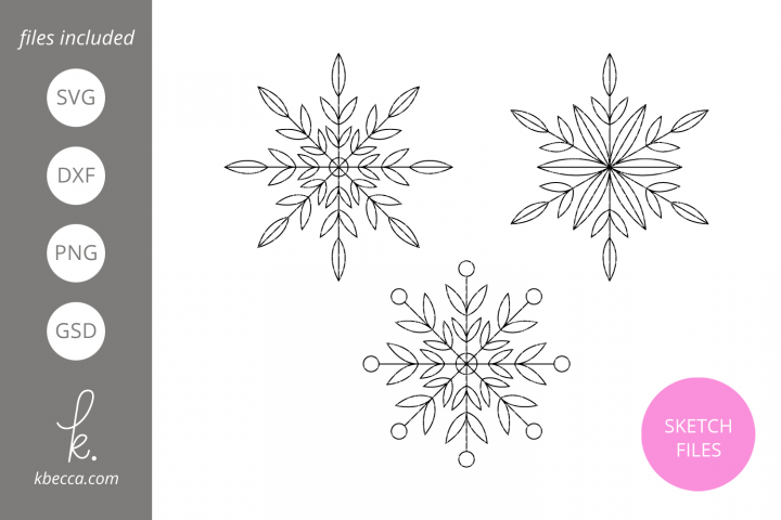 Foil Quill Sketch Snowflakes SVG File