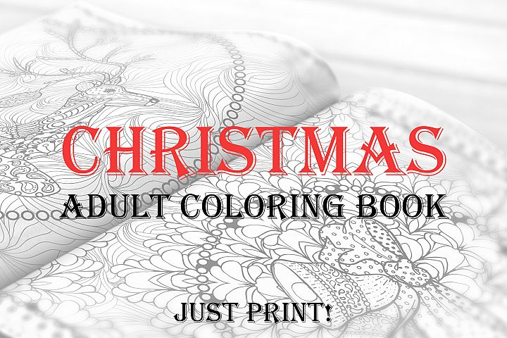 Christmas Adult Coloring Book. Templates for 2019, 2020 year