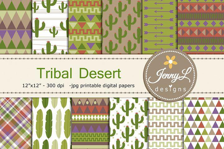 Desert Tribal Cactus Digital Papers