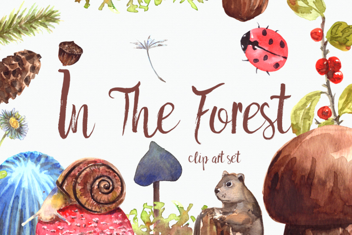 In The Forest - Clip Art Set