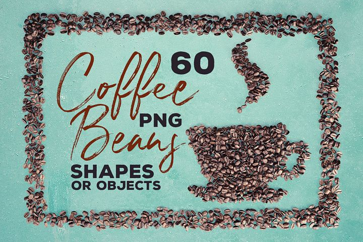60 Coffee Beans - PNG Shapes & Objects