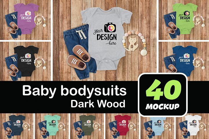 Baby bodysuits 002 dark wood