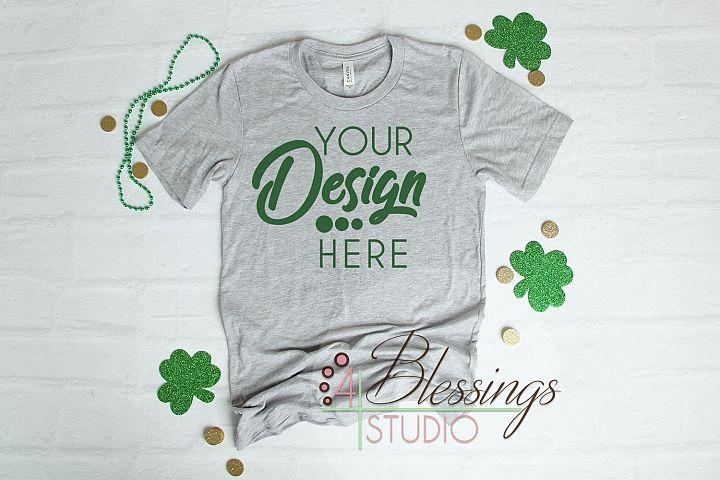St. Patty GrayTShirt Bella Canvas Mockup 3001 Unisex Shirt