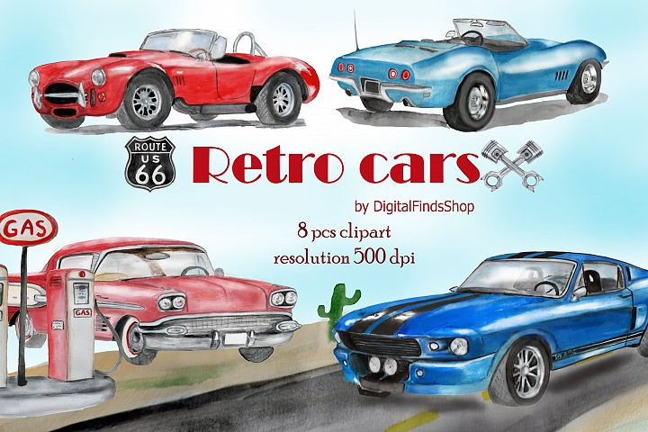 Car clipart, vehicle watercolor clipart with vintage cars