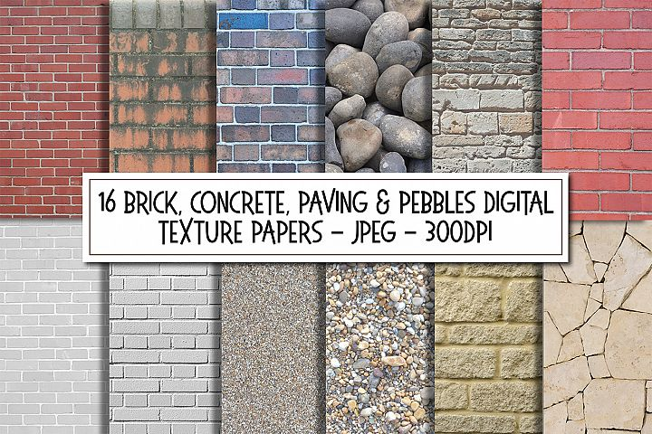 Bricks Concrete Stone and Pebbles Texture Images Bundle