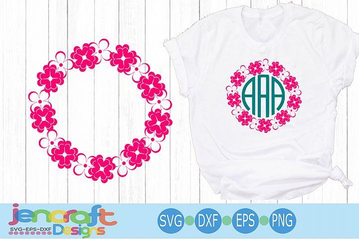 Rose Flower Wreath Frame SVG, Roses Monogram Frame SVG