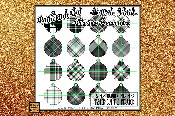 16 Buffalo Plaid Christmas Ornaments Print and Cut Svg Bundl