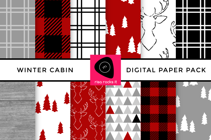 Winter Cabin Buffalo Plaid Digital Paper Pack