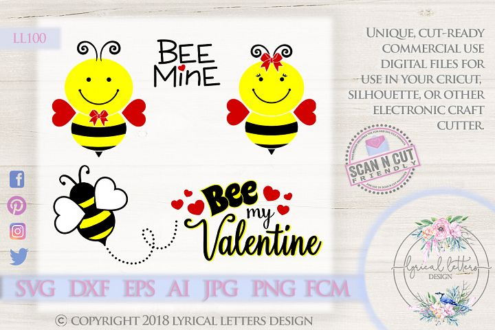 Valentines Day Bee Bundle of 5 SVG DXF Cut Files LL100