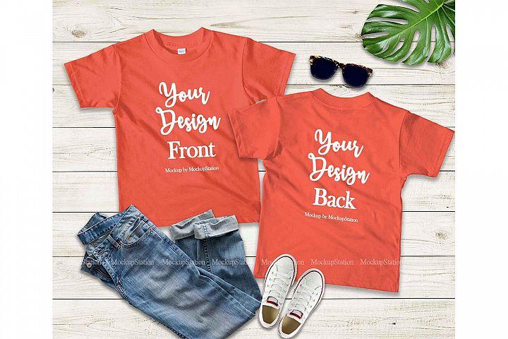 Kids Front & Back Orange Tshirt Mockup, Teen Shirt Mock Up