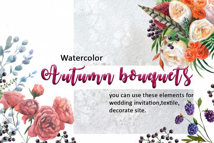 Watercolor autumn bouquets.