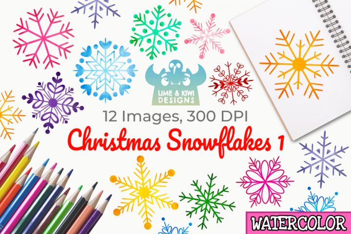 Christmas Snowflakes 1 Watercolor Clipart, Instant Download