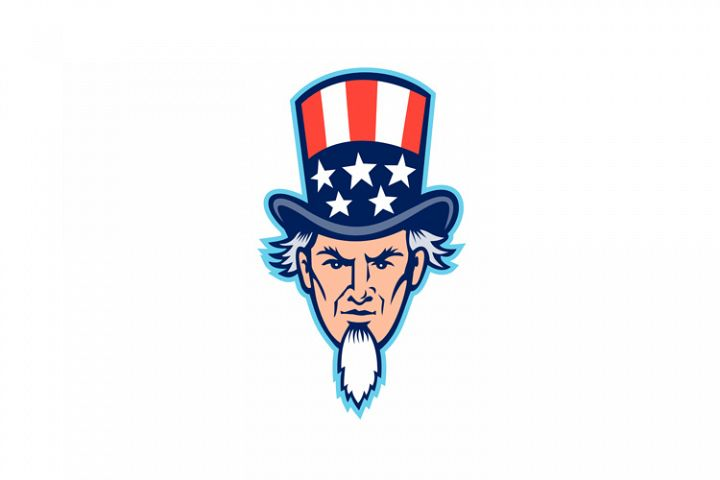 Uncle Sam Head Mascot