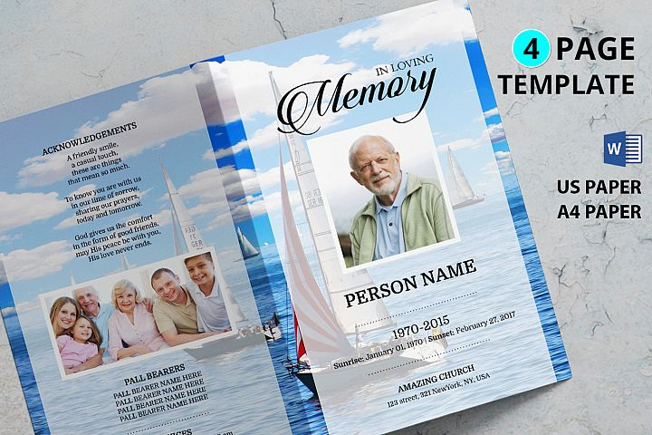 Sailor Funeral Program Template