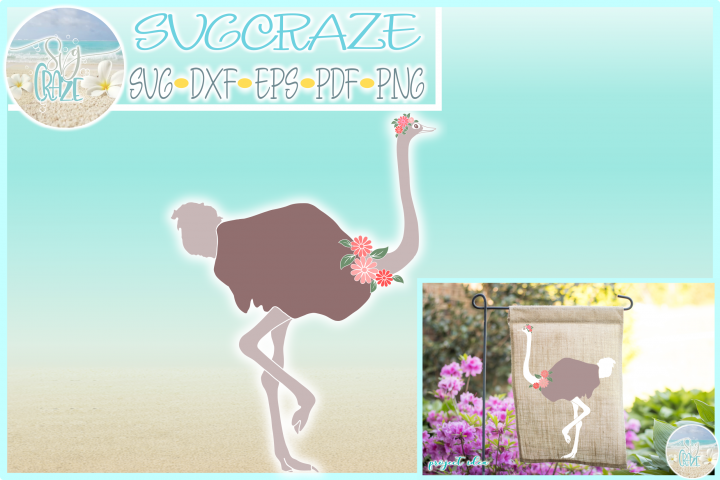 Ostrich with Flowers SVG Dxf Eps Png Pdf