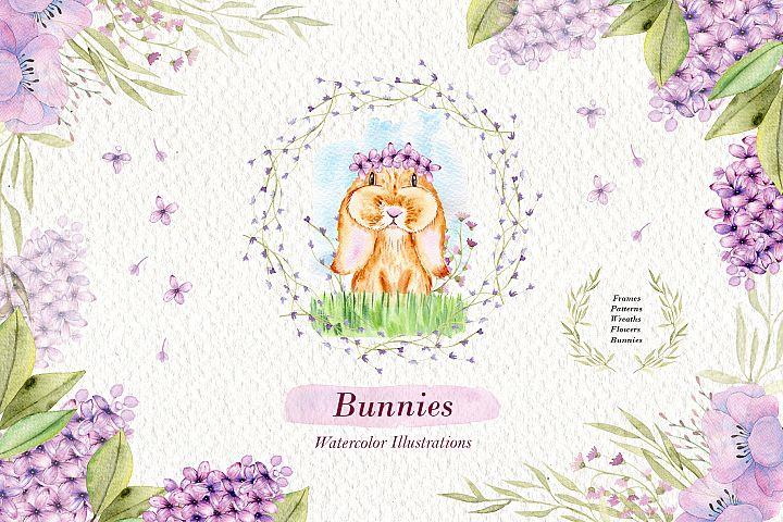 Watercolor Bunnies Illustration Set