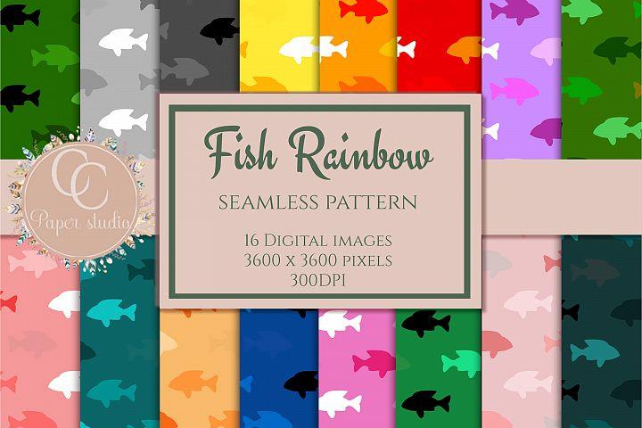 16 Rainbow coloured fish pattern digital paper