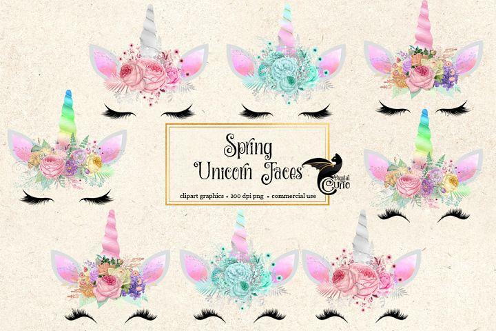 Spring Unicorn Face Clipart
