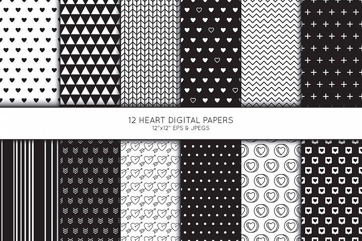 Heart Digital Paper, Heart Scrapbook paper