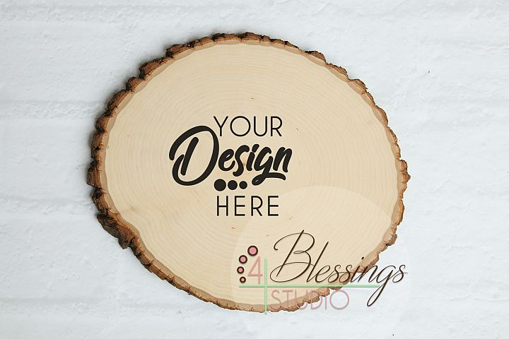 Round Wood Slice Sign with Bark Edges Mockup Template