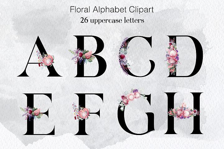 Floral Alphabet Clipart, Wedding Flower Alphabet