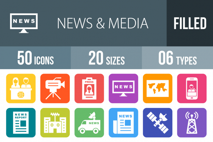 50 News & Media Filled Round Corner Icons