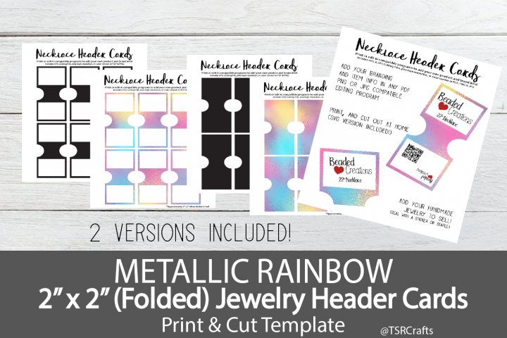 Jewelry Header Cards for Necklace - Metallic Rainbow