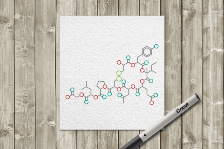Oxytocin SKETCH Single Line Drawing Pen & Foil Quill SVG