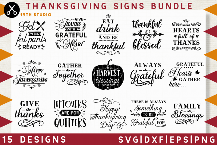 Thanksgiving signs SVG Bundle | SVG DXF EPS PNG MB39