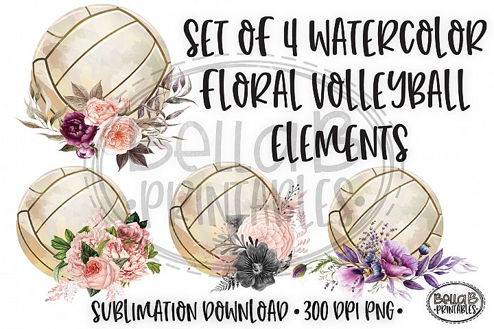 Floral Volleyball Sublimation, Volleyball Elements Bundle