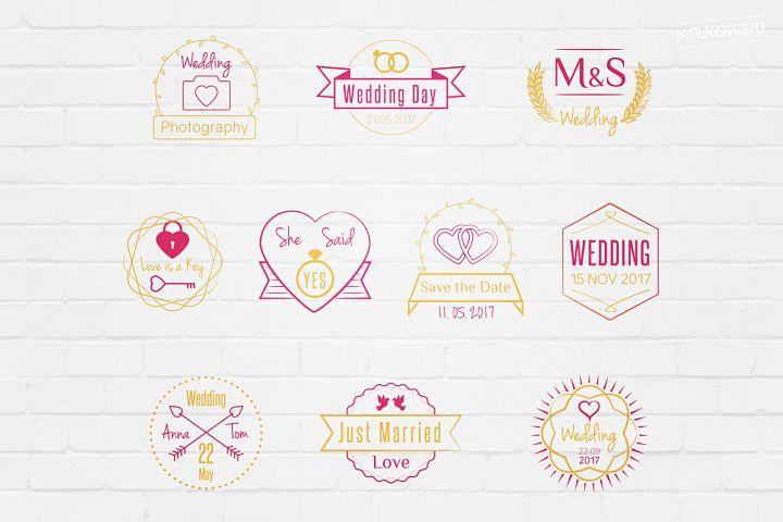 Wedding Stamp Vector Badges Logos