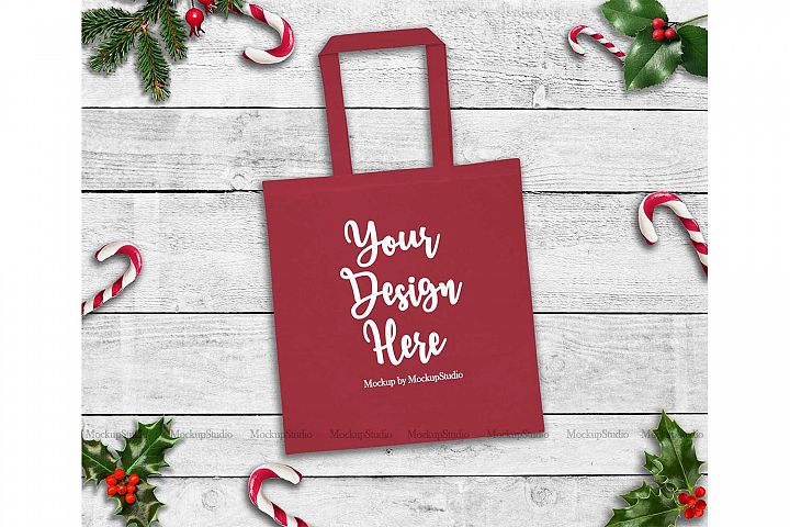 Christmas Red Tote Bag Mockup, Winter Canvas Tote Flat Lay