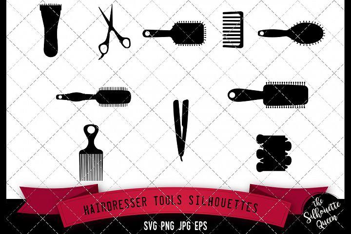 Hairdresser Tools Silhouette, SVG, cricut Clipart, Vector, e