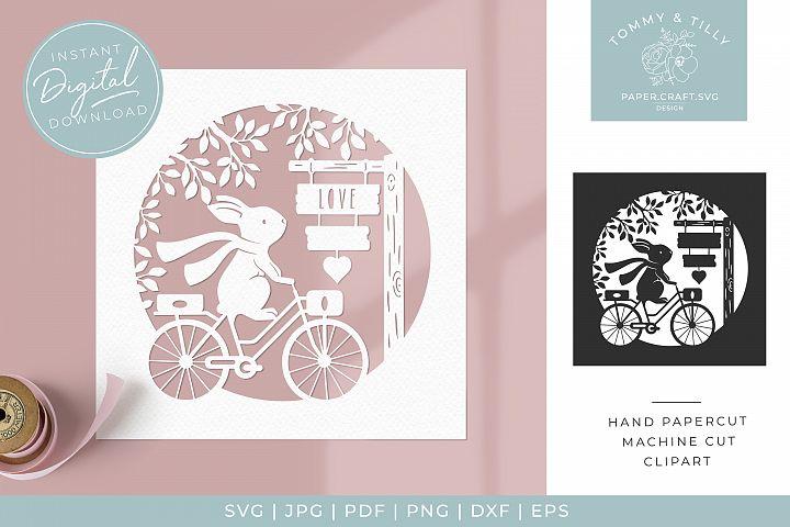 Bike & Sign Scene - Butterfly SVG Papercut Cutting File