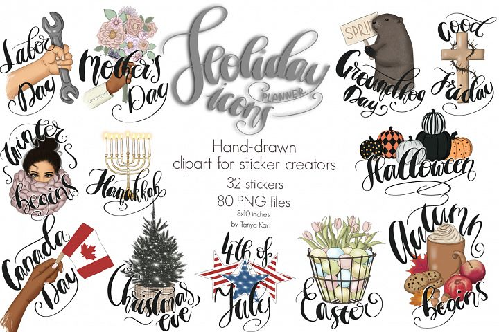 Holiday Planner Icons Clipart Kit