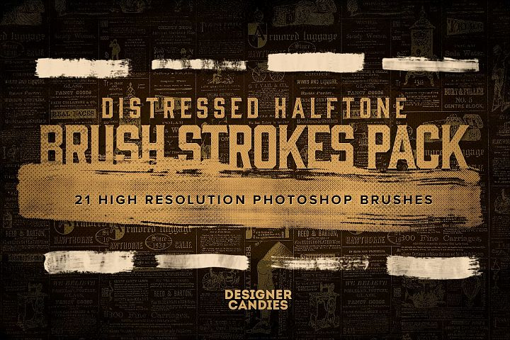 21 Distressed Halftone Brushes for Photoshop
