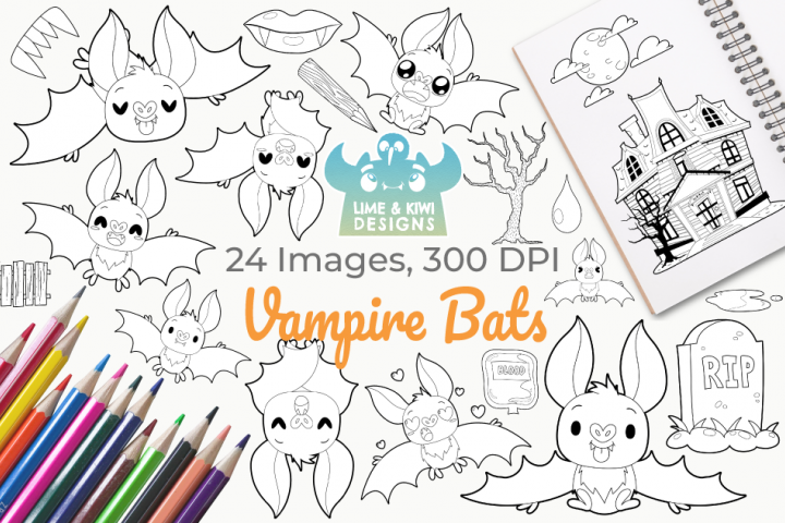 Vampire Bats Digital Stamps, Instant Download Vector Art