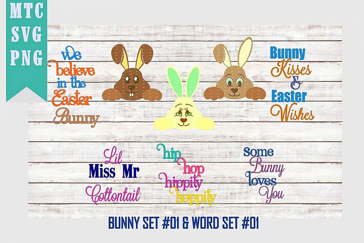 Peeping Easter Bunny Set #3 with Sayings Set #1 SVG Cut File